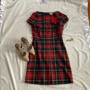 Brooks brothers sz 6 plaid shift dress red fleece